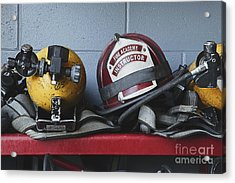 Fireman Helmets And Gear Acrylic Print by Skip Nall
