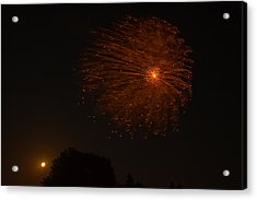 Acrylic Print featuring the photograph Fireworks And Wildfire Moon by Tom Gort