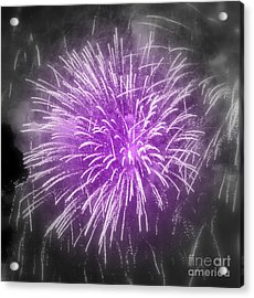 Fireworks In Mauve Acrylic Print by France Laliberte