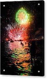 Fireworks On The Beach Acrylic Print by Perry Van Munster