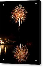 Acrylic Print featuring the photograph Fireworks Over Lake by Cindy Haggerty