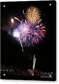 Fireworks Over The River Acrylic Print by Kenny Bosak