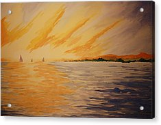 Firey Sunset Acrylic Print by Jeff Lucas