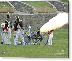Firing Cannon Acrylic Print by JT Lewis
