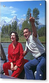 First Lady, Lady Bird Johnson, Rafting Acrylic Print by Everett