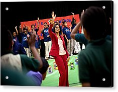 First Lady Michelle Obama Exercises Acrylic Print by Everett