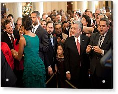 First Lady Michelle Obama Greets Guests Acrylic Print by Everett