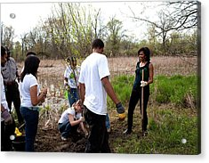 First Lady Michelle Obama Helps Plant Acrylic Print