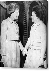 First Lady Patricia Nixon Hold Hands Acrylic Print by Everett