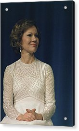 First Lady Roslyn Carter In A White Acrylic Print by Everett