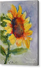 First Sunflower Acrylic Print by Terri Maddin-Miller