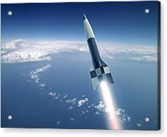 First V-2 Rocket Launch, Artwork Acrylic Print by Detlev Van Ravenswaay