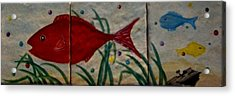 Fish In A Sea Of Colored Bubbles Acrylic Print by Sandra Maddox