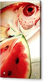 Fish Out Of Watermelon Acrylic Print by Joan Pollak