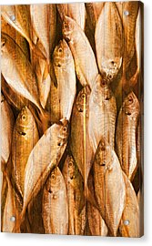Fish Pattern On Wood Acrylic Print by Setsiri Silapasuwanchai