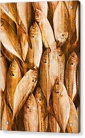 Fish Pattern On Wood Acrylic Print