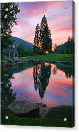 Fish Pond At Sunset I Acrylic Print by Steven Ainsworth