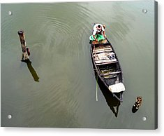 Fisherman And His Boat Acrylic Print by Pallab Seth
