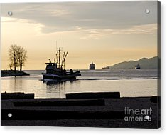 Fisherman Home Returning To Port From The Inside Passage Vancouver Bc Canada Acrylic Print by Andy Smy