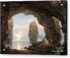 Fisherman In A Grotto Helgoland Acrylic Print by Christian Ernst Bernhard Morgenstern