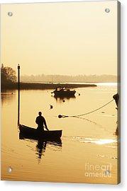 Fisherman On Lake Acrylic Print by Pixel Chimp