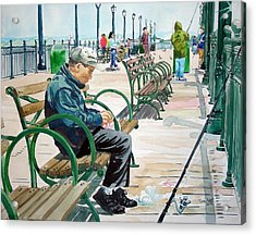 Acrylic Print featuring the painting Fisherman San Francisco by Tom Riggs