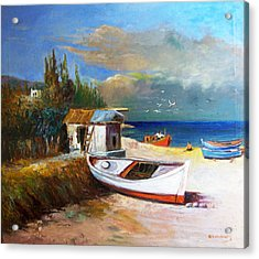 Fisherman's Cottage Acrylic Print by George Siaba