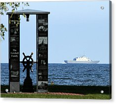 Acrylic Print featuring the photograph Fishermans' Memorial At Red Arrow Park And Lcs3 Uss Fort Worth by Mark J Seefeldt