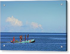 Acrylic Print featuring the photograph Fishermen And Canoe- St Lucia by Chester Williams