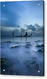 Fishermen At Blue Hour Acrylic Print
