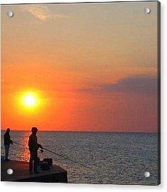 Fishermen At Sunset Acrylic Print