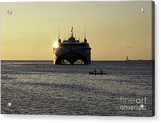 Fishermen Paddle Their Canoe Acrylic Print by Stocktrek Images