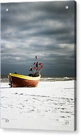 Acrylic Print featuring the photograph Fishermen's Boat On Snowy Beach by Agnieszka Kubica