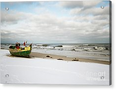 Acrylic Print featuring the photograph Fishermen's Boat Waiting On A Beach by Agnieszka Kubica