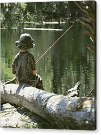 Fishin' And Wishin' Acrylic Print by Myrna Bradshaw