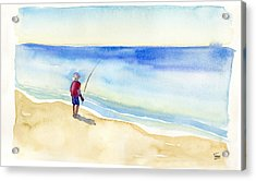 Fishing Alone Acrylic Print by Catherine Twomey
