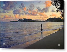 Acrylic Print featuring the photograph Fishing At Dawn- St Lucia by Chester Williams