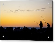 Acrylic Print featuring the photograph Fishing At Sunset by Serene Maisey