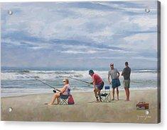 Fishing At The Beach Acrylic Print by Norman Drake