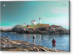 Fishing At The Nubble Lighthouse Acrylic Print by Earl Jackson