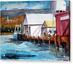Fishing Boat And Dock Watercolor Acrylic Print