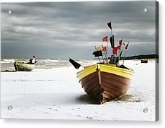 Fishing Boats At Snowy Beach Acrylic Print