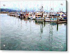 Fishing Boats At The Dock . 7d8187 Acrylic Print by Wingsdomain Art and Photography