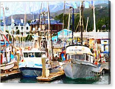 Fishing Boats At The Dock . 7d8213 Acrylic Print by Wingsdomain Art and Photography