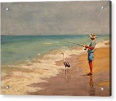 Acrylic Print featuring the painting Fishing Friends by Joe Bergholm