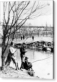 Fishing In The Bronx River,  New York Acrylic Print by Everett