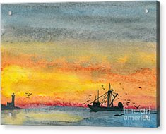 Fishing In The Evening  Acrylic Print by R Kyllo