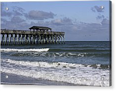 Fishing On The Pier Acrylic Print