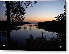 Fishing Pier At Dawn Acrylic Print by Cindy Rubin