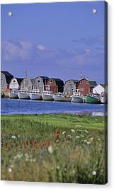 Fishing Shacks Line The Bay At Malpeque Acrylic Print by Leanna Rathkelly
